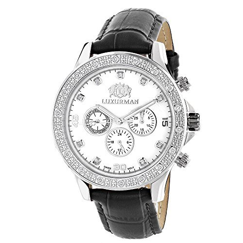 LUXURMAN Mens Diamond Watch 0.2ct Swiss Quartz Liberty w Leather Band and White MOP Dial