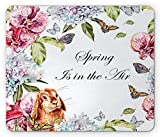 Frühlings-Mausunterlage, Hyacintha-Blumen-Kaninchen-Orchideen-Schmetterlings-Blätter Botanik-Blumenstrauß-Aquarell-Kunst, Standardgrößen-Rechteck-Rutschfester Gummi Mousepad, Mehrfarben