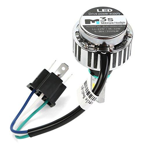 Motorrad Scheinwerferlampe LED Abblend-/Fernlichtset H4 Lampe, 32W 3000 Lumen 3000K warm weiss, 3-seitig Nachrüstung Kit