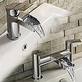 Luxury Waterfall Basin Sink Mixer Tap and Modern Chrome Bath Filler Tap Set