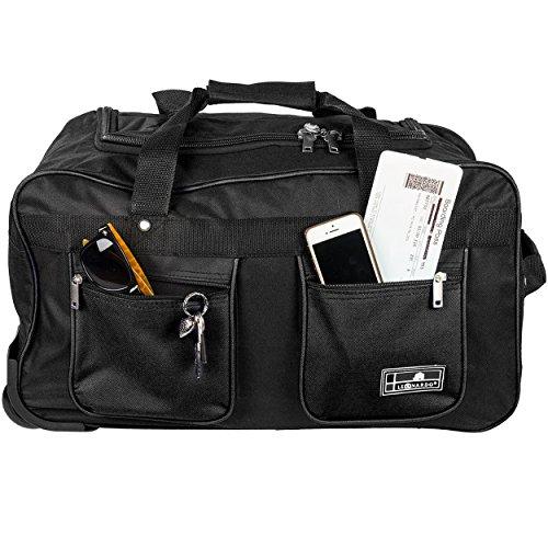Reisetasche 45 Liter Handgepäck-Tasche mit Rollen, leichte Sporttasche mit Trolley-Funktion inklusive Schloss - verschiedene Farben Premium Schwarz