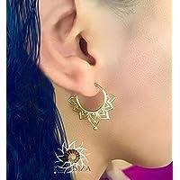 Ohrringe aus Messing - Messing Reifen Ohrringe - Zigeuner Ohrringe - Stammes-Ohrringe - ethnische Ohrringe - Indische Ohrringe - Erklärung Ohrringe - Kleine Ohrringe - Messing Schmuck - Kleine Reifen