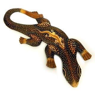 Deko Figur Wanddekoration Gecko Manis braun aus Albesia Holz punktbemalt dotpainting, 30cm lang, Holzfigur Wandfigur Echse Kunsthandwerk aus Bali handgefertigt
