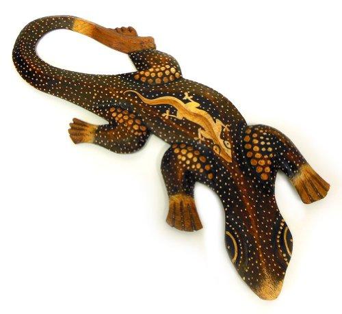 Tempelwelt Figura Decorativa de Pared Gecko Mantis marrón de Madera de albesia punktbemalt dotpainting, 30 cm de Largo, Madera Figura Pared Figura Lagarto Mano en Bali Hecha a Mano