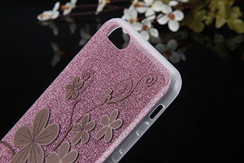Cover iPhone 6S Plus,Cover iPhone 6 Plus, ikasus® iPhone 6S Plus / 6 Plus Case Custodia Cover [Hard PC + TPU] Protettiva Trasparente con il modello che scorre copertura dura di plastica trasparente Cu Oro rosa Fiore #1