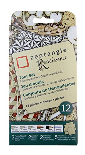 Sakura 50009 Zentangle Lehrlings-Set Zentangle Renaissance Tile 12-PC Set hautfarben