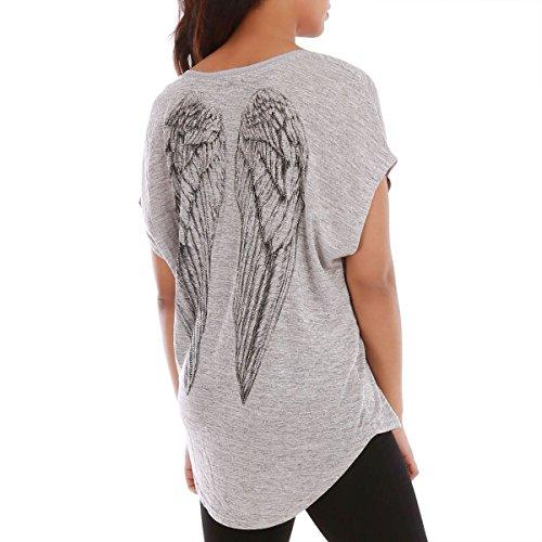 La Modeuse - T-shirt ample à manches courtesfaçon chauve-souris Gris