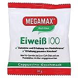 Megamax Eiweiss Cappuccino. Molkenprotein + Milcheiweiß Eiweiß Protein mit Biologischer Wertigkeit ca. 100. Für Muskelaufbau und Diaet. Inhalt: 30 g