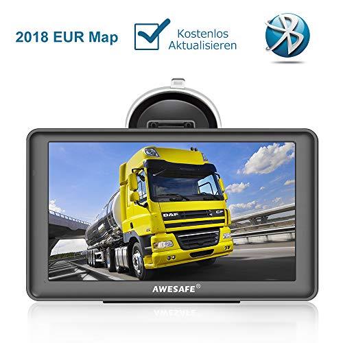 AWESAFE Navigationsgerät LKW PKW Navi 7 Zoll Sprachführung Touchsreen 8GB/256M mit Bluetooth Navigation 2018 Europa Maps Lebenslang Kartenupdates