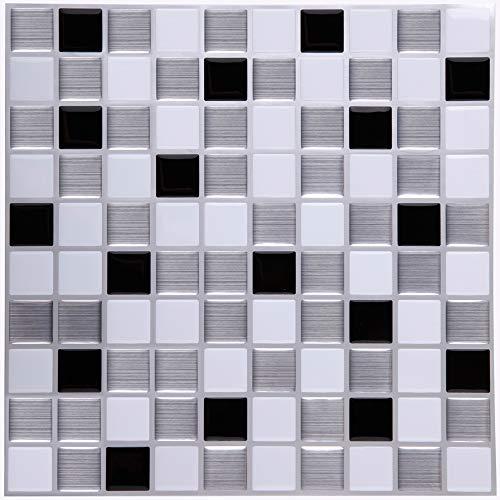 ART-ECO Ecoart Adesivi Piastrelle Muro 3D Mattonelle Auto-Adesivo Decorativo Gel Rivestimento Parete Cucina Bagno Mosaico (Nero Argento Bianco)