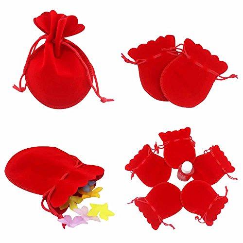 50x sacchetto di velluto bustina confezione 7x9 cm portaconfetti bomboniere regalo accessori (rosso)