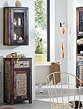 Kommode mit Hängeschrank Punjab Akazie Metall Schrank Wandschrank Badezimmer Badmöbel Used Look