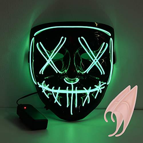 URAQT Máscara LED de Halloween, Mascaras de Halloween, Craneo Esqueleto Mascaras, mascaras de Halloween de Terror, Fiesta de Musica, Mascarada