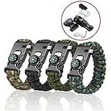 Lot de 4bracelets Paracord - Kits de bracelet de survie Kiwiker