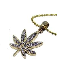 Chapado en oro de imitación de diamante Weed Leaf completamente Iced Micro Colgante & Cadena de bolas