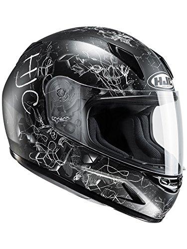 Hjc Kinder-Motorradhelm Cl-Y Vela Schwarz-Weiß (Kinder M , Schwarz)