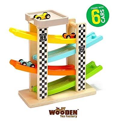 The Wooden Toy Factory – Circuit De Voiture Click Clack avec 6 Voitures - Comprend Un Parking- Aucun Assemblage Requis