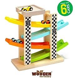 The Wooden Toy Factory - Circuit De Voiture Click Clack avec 6 Voitures - Comprend Un Parking- Aucun Assemblage Requis