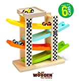 The Wooden Toy Factory - Circuito de Coches de Carreras Click Clack Racing Track con *6* Coches - Incluye Aparcamiento - No Requiere Montaje
