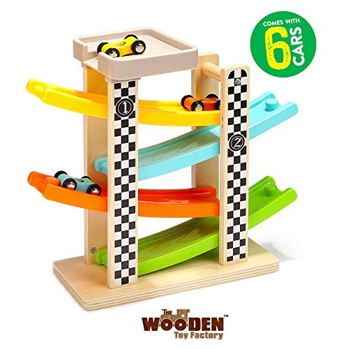 The Wooden Toy Factory Circuito de Coches de Carreras Click Clack Racing Track con *6* Coches - Incluye Aparcamiento - No Requiere Montaje