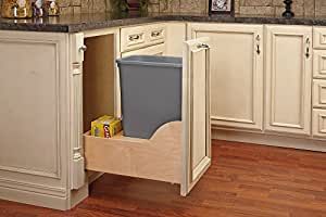 Rev-A-Shelf - 4WCSC-1550DM-1 - Single 50 Qt. Pull-Out Bottom Mount Wood and Silver Waste Container with Soft-Close Slides