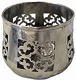 Windlicht aus Aluminium silber Höhe 10 cm Schwimmlicht Teellichthalter