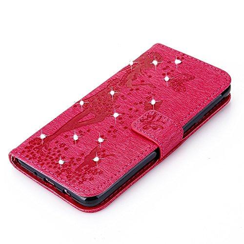 Für Samsung Galaxy J7 Prime Case, geprägtes Girl Pattern Rhinestone PU Leder Brieftasche Case Flip Stand Case mit Halter & Lanyard & Card Slots ( Color : Blue ) Red