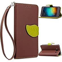 Redmi 2A Funda,+Free Gifts Multifunctional Data Line SongNi® TPU Leather Wallet Funda,Leaf shape Magnetic Closure,Card Slot,Wallet,Stand,Flip leather Funda for Redmi 2A-Brown