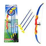 GUOGUO Pfeil und Bogen Kinder, Bogenschießen Schießspiele mit 3 Pfeilen ab 3 Jahre, 58×12cm