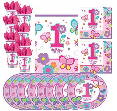 Libetui 33 Teile 1. Geburtstag Mädchen Party Geschirr Set Kindergeburtstag Teller Becher Servietten Tischdecke 1st Birthday Girl 1 Becher-set