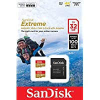 SanDisk SDSQXAF-032G-GN6AT 2 x 32 GB Extreme Micro SD Card with Adapter for Action Camera