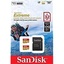 Tarjeta de memoria SanDisk Extreme 32 GB microSDHC para cámaras de deportes de acción + adaptador SD, velocidad de lectura hasta 100 MB/s, Clase 10, U3, V30 y A1 - Pack 2 unidades