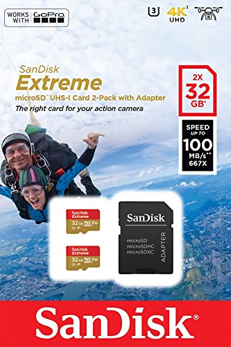 SanDisk SDSQXAF-032G-GN6AT 2x 32GB Extreme Micro SD Karte mit Adapter für Action Kamera