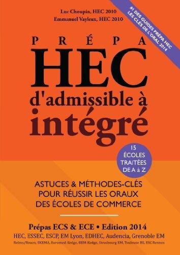 Prpa HEC. d'Admissible  Intgr - EDITION 2014 - Astuces et Mthodes-Cls pour Russir les Oraux des Ecoles de Commerce de Luc Choupin (2013) Broch