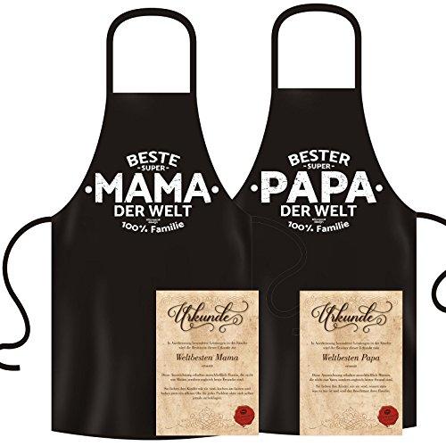 GeschenkIdeen.Haus - Bedruckte Kochschürze im Set für Mama und Papa
