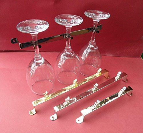 Preisvergleich Produktbild 1–2 X,  für 3 breit Weinglas Halter. Metall. Chrom Nickel. Wohnwagen / Caravan / Wohnmobil / Statische. 285 mm lang