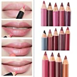 Amlaiworld Schmink Pinsel, Damen Lipliner wasserdicht Lip Liner Pencil 15CM 12 Farben pro Set neu