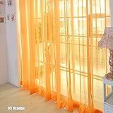 Rungao, color floral, visillo de gasa para decoración del hogar, puertas, ventanas, paño de cortina simple, cenefa, alzapaños., Naranja, Naranja