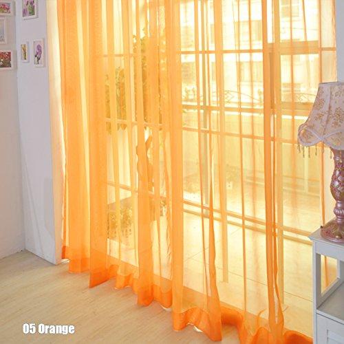 rungao Farbe Floral Voile Vorhang House Decor Tür Fenster Vorhang Panel Sheer Volants Schal, Orange, Orange Vorhänge Gelb Volant