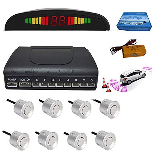 Shijbaii auto veicolo auto rear reverse backup radar system con 8wireless stop kit sensori di parcheggio cicalino allarme promemoria monitor distanza di rilevamento + led distanza display