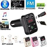 Bluetooth FM Transmitter,Colorful(TM) KFZ Auto Wireless mp3 Player Audio Radio Adapter mit LED Bildschirm, Dual USB,TF Karte Slot für IOS/Android Smartphones usw (Schwarz)