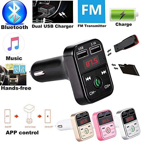 Bluetooth FM Transmitter Colorful(TM) Dual USB Bluetooth4.1 Car Kit Ladegerät FM Transmitter MP3 Player (Rosa) (Rosa Auto-ladegerät)
