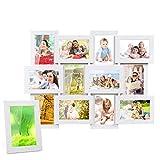 MVPower 13er Set Fotorahmen Bilderrahmen Foto Collage für 13 Fotos Hausdeko (10x15 cm, 13x18 cm) (13er Set Weiß)