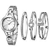 XLORDX Damen Armbanduhr Analog Quarz Silber Uhr mit Edelstahl Armband Weiß Zifferblatt Mit 3 Stücke Strass Kristall Silber Armband