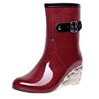 FEELHH Warm Rain Boots,Punk Style Lightweight On Comfy Mid Snow Wedges Boots Women