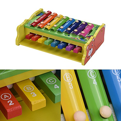 Muslady 2-in-1 Wooden Xylophone Glockenspiel 8 Notes with 2 Mallets Educational Percussion Instrument Musical Toy Gift Multifunctional for Kids Children