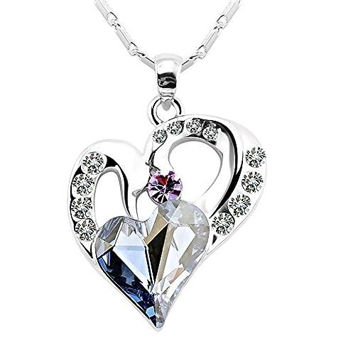 FANSING Schmuck Kristall Schwan Herz Liebe Halsketten mit Anhänger Damen
