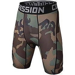Pantalones Cortos De Compresión - Pantalon Short Camuflaje - Hombre M