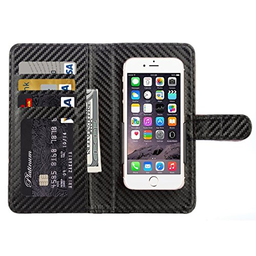 Hülle für iPhone 7 plus , Schutzhülle Für iPhone 7 Plus & 6 Plus & 6s Plus Twill Texture Carbon Fibre Horizontale Flip Leder Tasche mit magnetischen Wölbung & Card Slots & Wallet ,hülle für iPhone 7 p Black