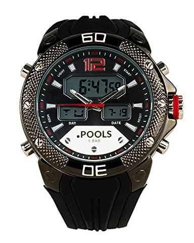 Baciami. piscines 3241Montre bracelet à affichage digital avec horloge, Chronographe, Alarme d'Arrêt, affichage de la date, 5ATM/bar